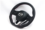AutoExe Sports Steering Wheel Suede Red Stitching: 2014+ Mazda 3/6