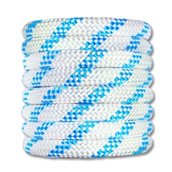 Kernmantle Rope 1/2 inch White w/ Blue Stripe