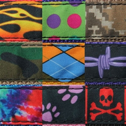 Ribbon on Webbing. Sublimated polyester ribbon that is sewn on to 3/4 inch Lightweight Polypropylene webbing.