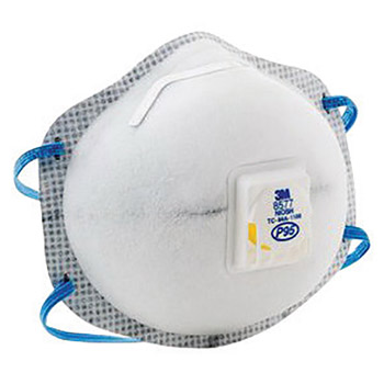 3M 3MR8577 Standard P95 8577 Disposable Particulate Respirator With Cool Flow Exhalation Valve And Adjustable M-Nose Clip - Meets NIOSH And OSHA Standards, Per Box