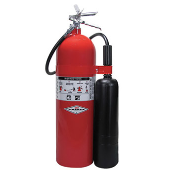 Amerex A61332 20 Pound Stored Pressure Carbon Dioxide 10-B:C Fire Extinguisher For Class B And C Fires With Chrome Plated Brass Valve, Wall Bracket, Hose And Horn