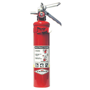 Amerex A61B417T 2.5 Pound Stored Pressure ABC Dry Chemical 1A:10B:C Multi-Purpose Fire Extinguisher For Class A, B And C Fires With Anodized Aluminum Valve, Vehicle Bracket And Nozzle