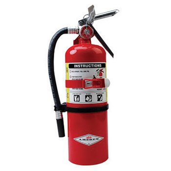Amerex A61B500T 5 Pound Stored Pressure ABC Dry Chemical 2A:10B:C Steel Multi-Purpose Fire Extinguisher For Class A, B And C Fires With Anodized Aluminum Valve, Vehicle/Marine Bracket, Hose And Nozzle