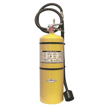 Amerex A61B570 30 Pound Stored Pressure Sodium Chloride Dry Powder Fire Extinguisher For Class D Fires With Chrome Plated Brass Valve, Wall Bracket, Hose, Horn And Wand Applicator