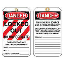 Accuform Signs 5 7 8in X 3 1 8in PF Cardstock Lockout Tag MLT407CTP
