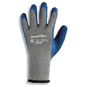 Ansell Edmont Coated Gloves Size 8 PowerFlex Rubber Dipped Palm 206401