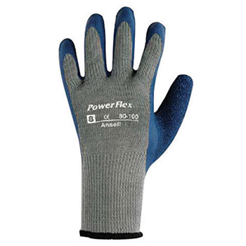 Ansell ANE80-100-9 Size 9 PowerFlex Plus Heavy Duty Multi-Purpose Cut And Abrasion Resistant Blue Natural Rubber Latex Palm Coated Work Gloves With Gray Seamless Cotton And Polyester Knit Liner And Knit Wrist
