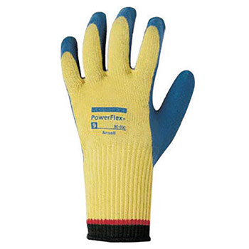Ansell ANE80-600-9 Size 9 PowerFlex Plus Heavy Duty Cut Resistant Blue Natural Rubber Latex Palm Coated Work Gloves With DuPont Kevlar Liner And Knit Wrist