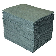 "Brady BRDGP100 15"" X 19"" SPC GP Gray 1-Ply Meltblown Polypropylene Dimpled Full Size Heavy Weight Sorbent Pad"