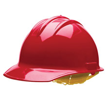 Bullard BUL30RDR Red Class E or G Type I Classic C30 3000 Series HDPE Cap Style Hard Hat With 6-Point Ratchet Suspension, Accessory Slots, Chin Strap Attachment And Absorbent Cotton Brow Pad