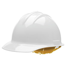 Bullard BUL30WHP White Class E or G Type I Classic C30 3000 Series HDPE Cap Style Hard Hat With 6-Point Self-Sizing Pinlock Suspension, Accessory Slots, Chin Strap Attachment And Absorbent Cotton Brow Pad