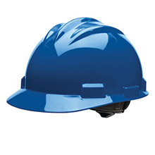Bullard BUL61KBR Kentucky Blue Class E or G Type I Standard S61 HDPE Cap Style Hard Hat With 4-Point Flex-Gear Ratchet Suspension, Accessory Slots, Chin Strap Attachment And Absorbent Polyester Brow Pad