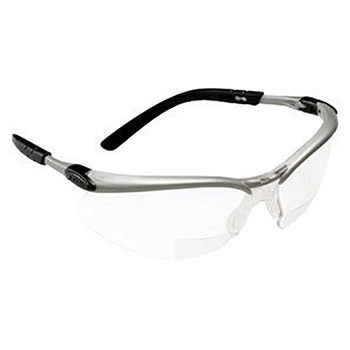 3M CAS11375-00000 BX 2.0 Diopter Safety Glasses With Silver Black Nylon Frame And Clear Polycarbonate Anti-Fog Lens, Per Pr