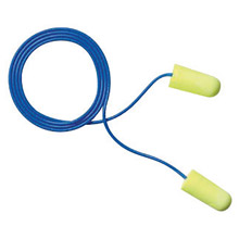 3M CAS311-1250 Single Use E-A-Rsoft Yellow Neons Tapered Polyurethane Foam Corded Earplugs With Vinyl Cord