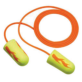 3M CAS311-1257 Single Use E-A-Rsoft Yellow Neons Blasts Tapered Polyurethane Foam Corded Earplugs With Vinyl Cord