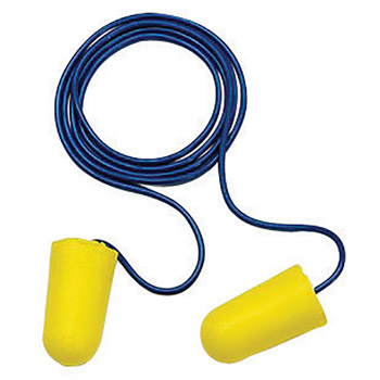 3M CAS312-1223 Single Use TaperFit 2 Tapered Polyurethane Foam Corded Earplugs With Vinyl Cord