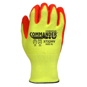 Commander HV 13-Gauge High Visibility, High Performance Polyethylene (HPPE) Steel/Glass fiber Shell, Red Sandy Nitrile Palm Coating Glove, Per Pair