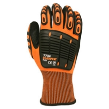 OGRE-FLEX 13-Gauge High Visibility Orange Polyester Shell, Black Sandy Nitrile Palm Coating, Thermo-Plastic Rubber (TPR) Finger and Back of Hand Protectors, Thumb Crotch Reinforcement, CE/EN388: 4121, $7.69 Per Pair