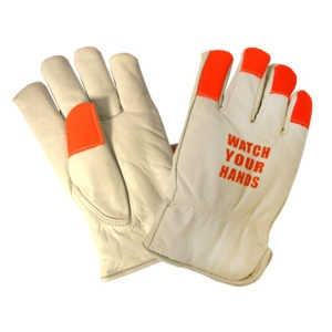 "Premium Grain Cowhide Driver Glove, Thinsulate Lined, Shirred Elastic Back, Hi-Vis Orange Fabric Finger Tips, Keystone thumb, ""WATCH YOUR HANDS"" Logo on Back of Hand, Per Dz"
