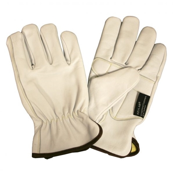 OGRE-GT Premium Grain Goatskin Driver Glove, Cut & Sewn Aramid/Fiberglass Lining, Padded Double Leather Palm, Shirred Elastic Back, Keystone Thumb, ANSI Cut Level 4, Per Pr