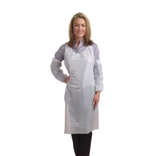DEFENDER II White Microporous Apron, Attached Neck Ties, 28-inch x 36-inch, One Size Fits All, 100EA/CS, Per Case
