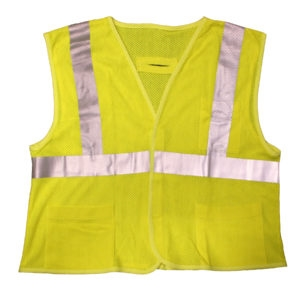 Cor-Brite Type R, Class II FR Modacrylic Lime Mesh Vest, 5.8oz Glenguard Modacrylic/Aramid Mesh, Hook & Loop Clsoure, 2-Inch Silver Reflective Tape