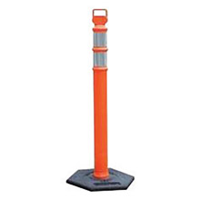 "Cortina Safety Products CTM03-734 45"" Orange Polyethylene Easy Grab Flared Delineator Post With -2- 3"" Hi-Intensity Stripes, Base Sold Separately"