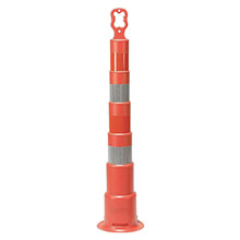 "Cortina Safety Products CTM03-750-6EG 49"" Orange And White High-Density Polyethylene Trim Line Channelizer Cone With -4- 6"" Engineer Grade Reflective Stripes And EZ-Grip Handle"