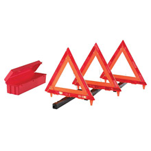 Cortina Safety Products CTM95-03-009 Fluorescent Orange Acrylic 3-Piece Triangle Warning Kit With -3- Triangles in Living Hinge Box