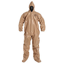 Dupont Personal Protection Large Tan Tychem CPF3 Coveralls Taped C3122TTNLG00