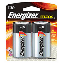 Energizer Batteries MAX D Alkaline 2 Per Card E95BP-2