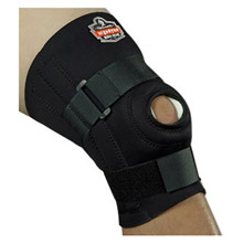 "Ergodyne E5716542 Small Black ProFlex 620 Neoprene Ambidextrous Knee Sleeve With 2"" Hook And Loop Closure, Anterior Pad, Open Patella, -2- Lateral And -2- Medial Spiral Stays"