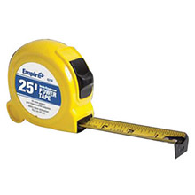 "Empire EMP6527POP 1"" X 25"" Yellow ABS Case Nylon Coated High Carbon Steel Blade Closed Reel Single Side Power Measuring Tape With Inches Reading, Triple Riveted, Reinforced End Hook, Belt Clip And Slide Lock"