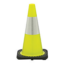 "JBC JB270032CLM3M64 28"" Lime PVC 1-Piece Traffic Cone With Black Base And 6"" 3M Reflective Collar"