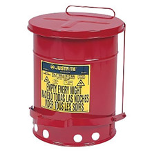 Justrite Manufacturing 6 Gallon Red Oily Waste Can Foot Lever 9100