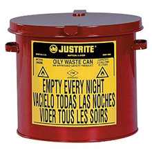 Justrite Manufacturing 2 Gallon Red Oily Waste Countertop Can 9200