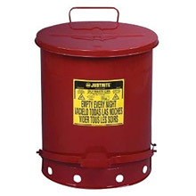 Justrite JTR09500 14 Gallon Red Galvanized Steel Oily Waste Can With Foot Lever Opening Device