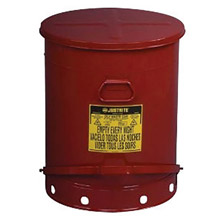 Justrite JTR09700 21 Gallon Red Galvanized Steel Oily Waste Can With Foot Lever Opening Device