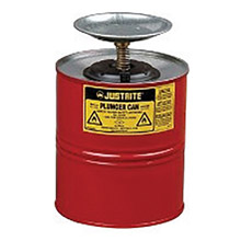 "Justrite JTR10308 1 Gallon Red Galvanized Steel Safety Plunger Can With 5"" Dasher Plate And Brass/Ryton Plunger Assembly"