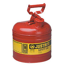 "Justrite JTR7120100 2 Gallon Red Galvanized Steel Type I Safety Can With 3 1/2"" Stainless Steel Flame Arrester And Self-Closing Lid"