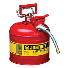 "Justrite JTR7220120 2 Gallon Red AccuFlow Galvanized Steel Type II Vented Safety Can With Stainless Steel Flame Arrester And 5/8"" Metal Hose"