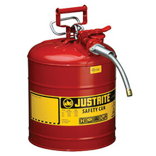 "Justrite JTR7250120 5 Gallon Red AccuFlow Galvanized Steel Type II Vented Safety Can With Stainless Steel Flame Arrester And 5/8"" Metal Hose"