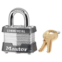 "Master Lock M193INKBLK Black 1 9/16"" W Laminated Steel Lockout Pin Tumbler Padlock With 9/32"" X 3/4"" Shackle And Key Number Ink Stamped On Bottom Of Lock"