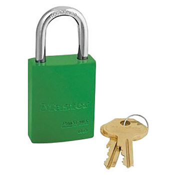 "Master Lock M196835GRN Green 1 9/16"" X 1 15/16"" High-Visibility Aluminum Safety Lockout Padlock With 1/4"" X 1"" Shackle"