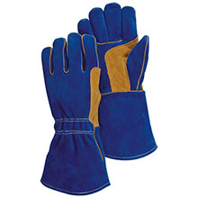 Majestic Welders Gloves Blue Brown Thumb Strap 1514BLT