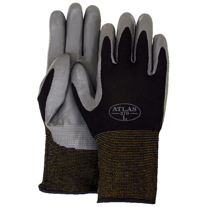 Majestic 3261 Atlas 370 Black Nitrile Palm On Nylon Gloves   Dozen
