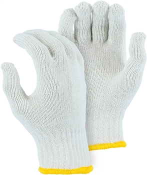 Majestic String Gloves White Cotton Poly 55 45 Large 3806WB