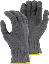 Majestic String Gloves Grey Knit 1000 Gram Cotton/Poly 50/50 Blend 3809G