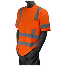 Majestic Tshirt HV Orange Birdeye Dbl Strp Class 75-5306