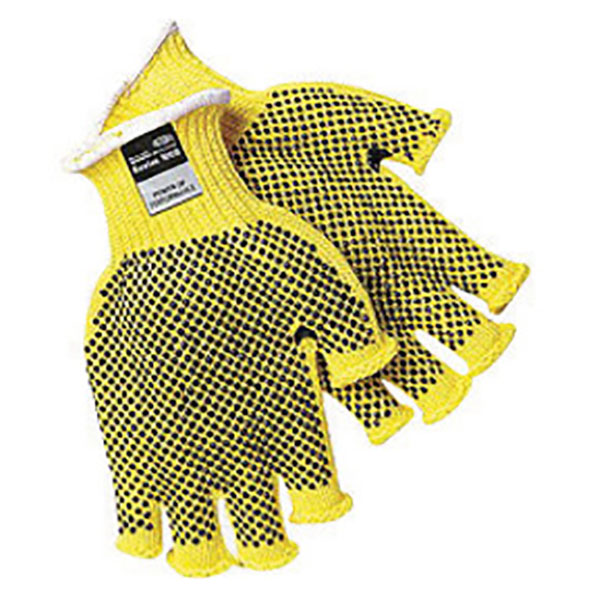 Memphis Glove X-Large Brown And Yellow Dotted Honeycomb Dotted Fingerless  Style 7 gauge Regular Weight Kevlar Fiber High Performance Cut Resistant